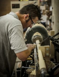 Richard Findley at work on his lathe