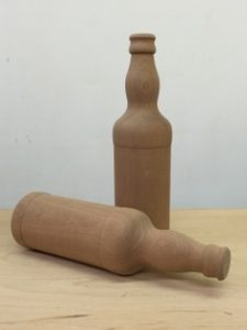 Turned wooden bottle